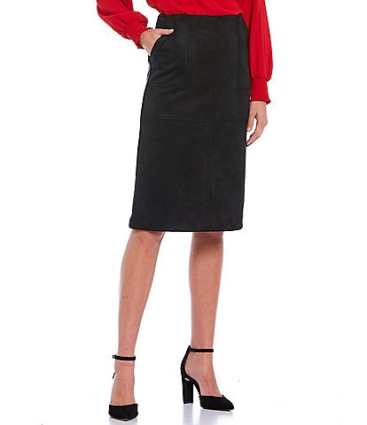 Gibson & Latimer Top Stitched Faux Suede Pencil Skirt
