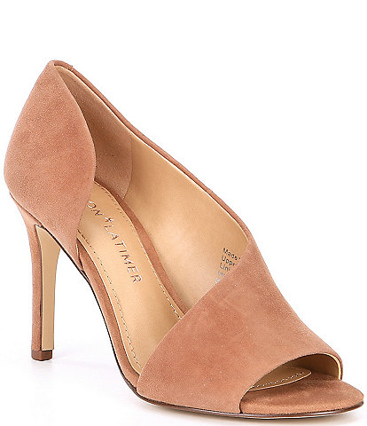 Gibson & Latimer Viollette Suede d'Orsay Peep Toe Pumps