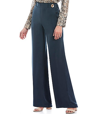 Gibson & Latimer Wide Leg Pant with Button Detail
