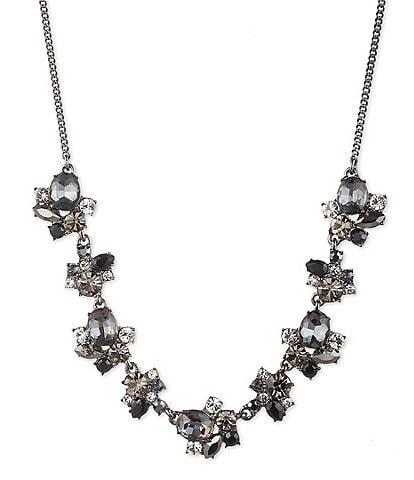 Givenchy Hematite Tonal Cluster Frontal Necklace