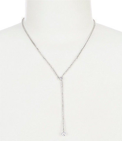 Givenchy Silver Crystal Long Y-Necklace