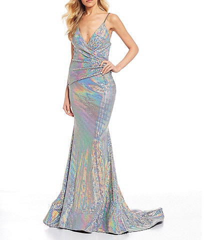 Glamour by Terani Couture Faux-Wrap Hologram Long Dress