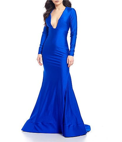 Glamour by Terani Couture Long Sleeve V-Neck Open-Back Satin Train Gown