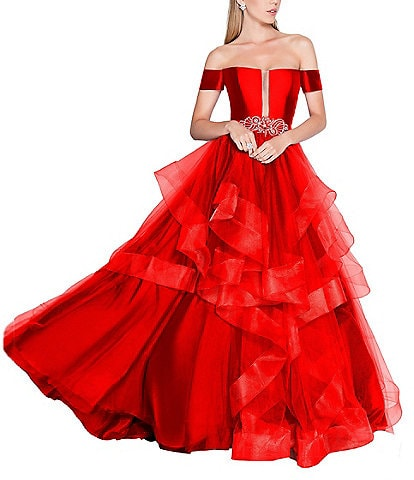 Glamour By Terani Couture Off-The-Shoulder Beaded Waist Encore Tiered Mesh Ball Gown