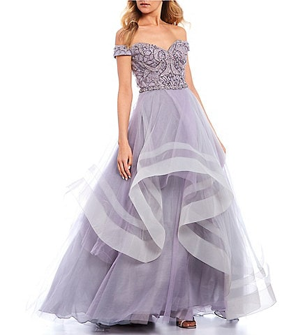 Glamour by Terani Couture Off-The-Shoulder Two-Tone Beaded Ball Gown
