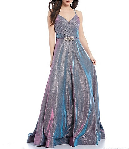 Glamour by Terani Couture Spaghetti Strap Iridescent Shimmer Beaded-Waist Ball Gown