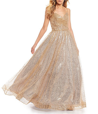 Glamour by Terani Couture Spaghetti Strap Sequin Ruched Bodice Ball Gown