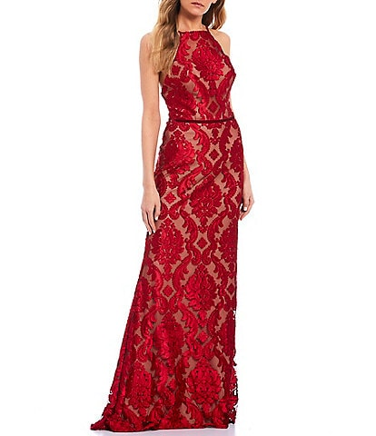 Glamour by Terani Couture Spaghetti Strap Two-Tone Lace Open-Back Long Dress