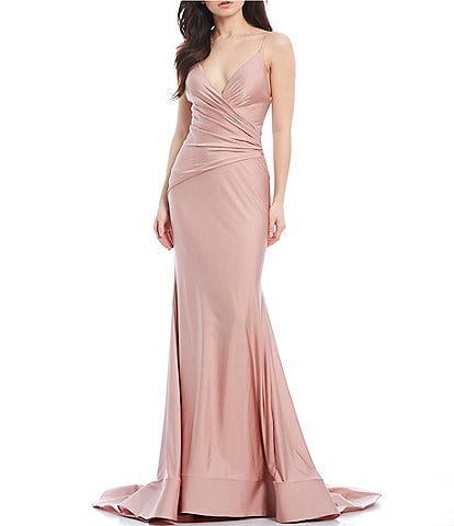 Glamour by Terani Couture Spaghetti Strap V-Neck Stretch Satin Long Dress