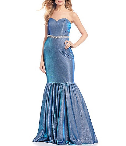 Glamour by Terani Couture Strapless Beaded Iridescent Trumpet Dress