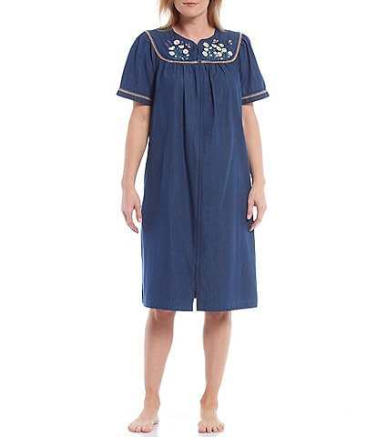 Go Softly Daisy & Bees Embroidery Denim Zip-Front Patio Dress