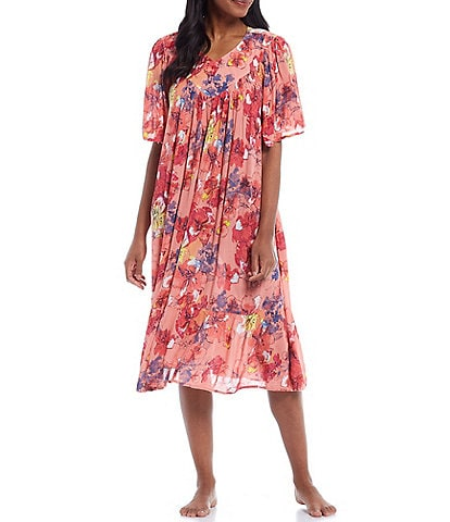 Go Softly Floral Bouquet Print Crinkled Woven Patio Dress