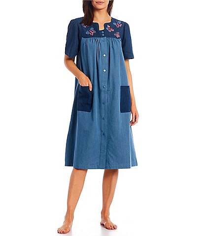 Go Softly Floral Embroidery Short Sleeve Denim Patio Dress