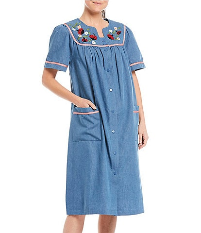 Go Softly Ladybug Embroidered Snap Front Denim Patio Dress