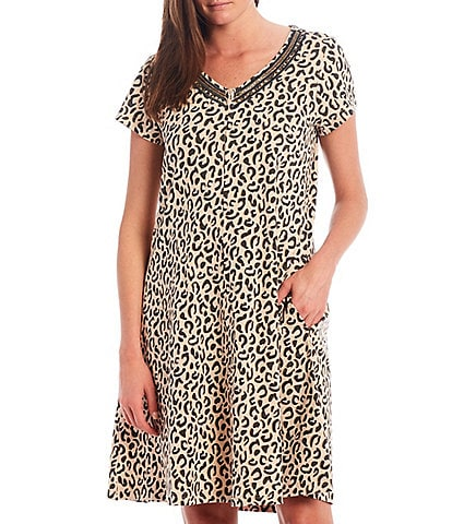Go Softly Leopard Print Zip Front Knit Patio Dress
