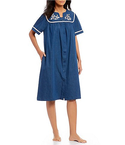 Go Softly Patio Denim Embroidered Brilliant Leaves Snap-Front Patio Dress