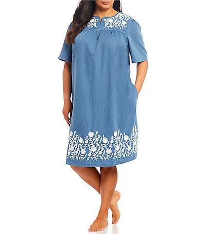 Go Softly Plus Denim Dori Embroidery Patio Dress