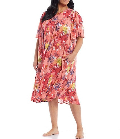 Go Softly Plus Floral Print Crinkled Woven Patio Dress