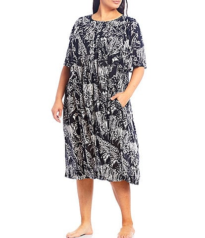 Go Softly Plus Jungle Animal-Print Henley Crinkled Woven Patio Dress