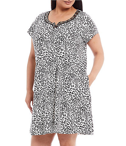 Go Softly Plus Leopard-Print Zip-Front Knit Patio Dress