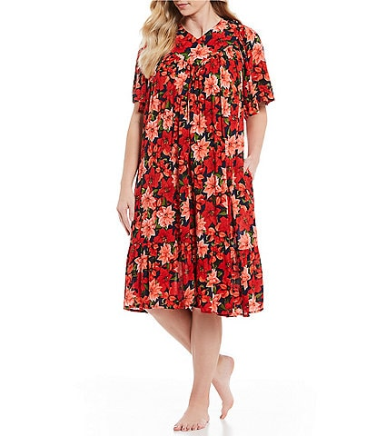 Go Softly Plus Patio Poinsettia-Print Crinkled Patio Dress