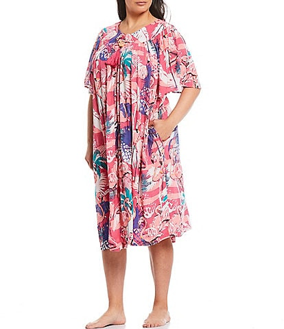 Go Softly Plus Tropical Flamingo Print Crinkled Woven Zip-Front Patio Dress