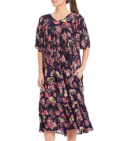 Go Softly Succulent Print Crinkled Woven Patio Dress