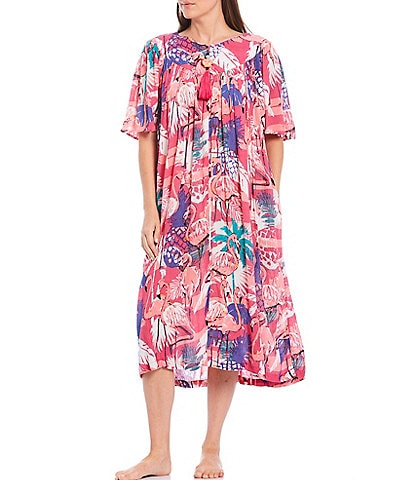 Go Softly Tropical Flamingo Print Crinkled Woven Zip Front Patio Dress