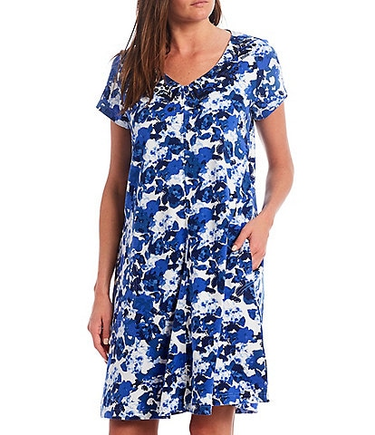 Go Softly Watercolor Floral Printed Knit Zip-Front Patio Dress