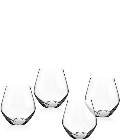 Godinger Crystal Meridian Stemless Wine Glasses, Set of 4