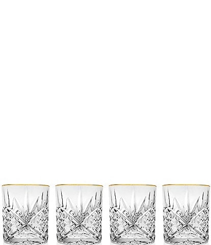 Godinger Dublin 4-Piece Gold-Rimmed Handcrafted Crystal Double Old Fashioned Glass Set