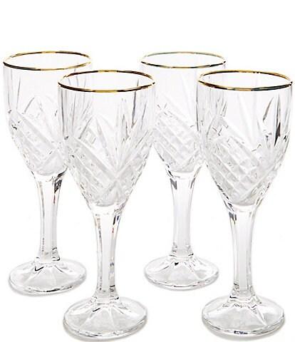 Godinger Dublin 4-Piece Gold-Rimmed Handcrafted Crystal Goblet Set