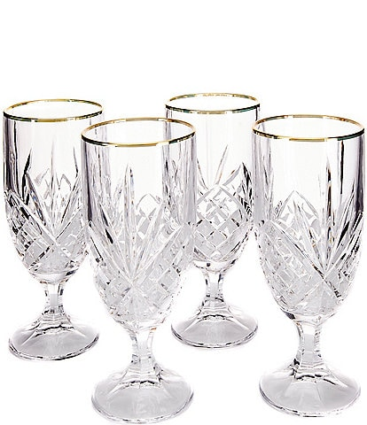 Godinger Dublin Gold-Rimmed Handcrafted Crystal Iced Beverage Glasses Set of 4