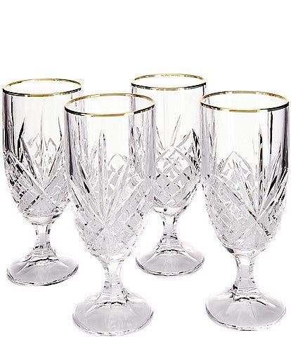 Godinger Dublin Gold-Rimmed Handcrafted Crystal Iced Beverage Glasses, Set of 4