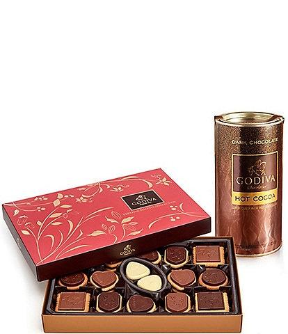 Godiva Chocolatier Dark Chocolate Hot Cocoa & Chocolate Biscuit Gift Set