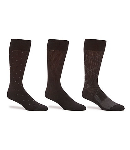 Gold Label Roundtree & Yorke Argyle Crew Dress Socks 3-Pack