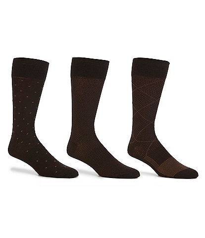 Gold Label Roundtree & Yorke Argyle Crew Dress Socks 3-Pack