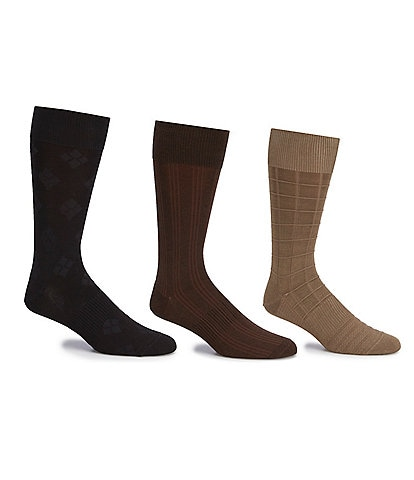 Gold Label Roundtree & Yorke Assorted Square-Canale-Argyle Crew Socks 3-Pack