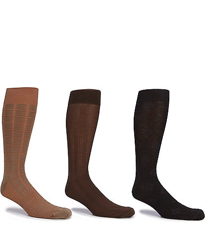 Gold Label Roundtree & Yorke Big & Tall Assorted Square-Canale-Argyle Crew Socks 3-Pack