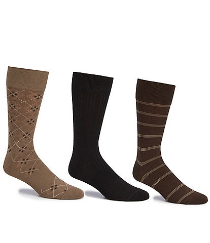 Gold Label Roundtree & Yorke Big & Tall Assorted Argyle-Solid- Stripe Crew Socks 3-Pack