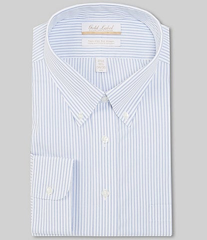 Gold Label Roundtree & Yorke Big & Tall Non-Iron Button-Down Collar Blue Striped Dress Shirt