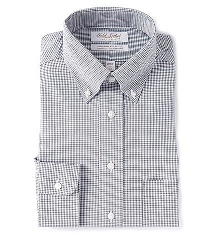 Gold Label Roundtree & Yorke Non-Iron Fitted Button-Down Collar Dark Grey Checked Dress Shirt