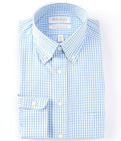 Gold Label Roundtree & Yorke Non-Iron Fitted Button-Down Collar Herringbone Dress Shirt