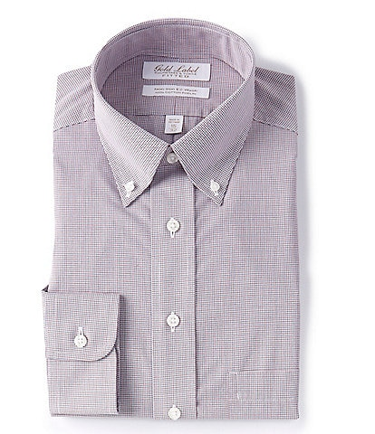 Gold Label Roundtree & Yorke Non-Iron Fitted Button-Down Collar Multi-Colored Micro Grid Dress Shirt