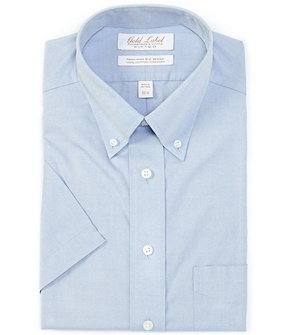 Gold Label Roundtree & Yorke Non-Iron Fitted Button-Down Collar Short Sleeve Solid Blue Dress Shirt