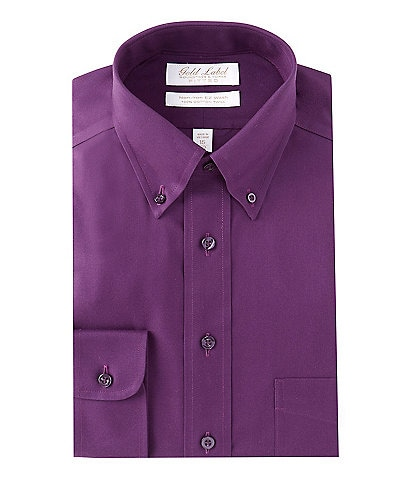 Gold Label Roundtree & Yorke Non-Iron Fitted Button-Down Collar Solid Dress Shirt