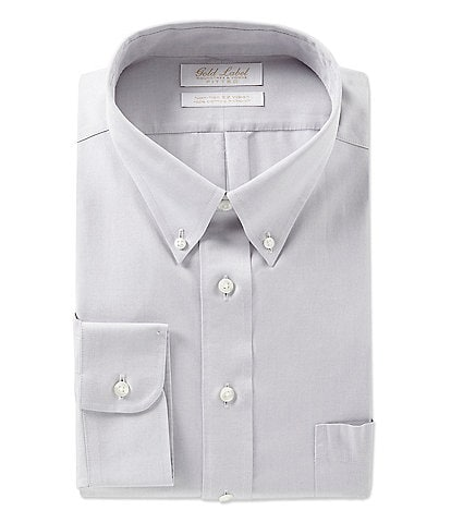 Gold Label Roundtree & Yorke Non-Iron Fitted Button-Down Collar Pinpoint Solid Dress Shirt