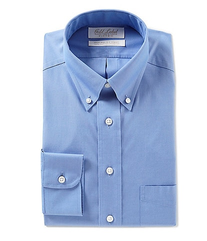 Roundtree & Yorke Gold Label Non-Iron Fitted Button-Down Collar Solid Tone Dress Shirt