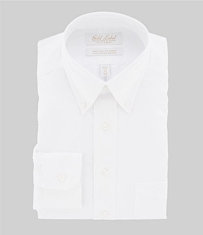 Gold Label Roundtree & Yorke Non-Iron Fitted Button-Down Collar Solid Oxford Dress Shirt