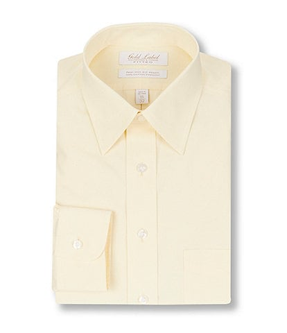Gold Label Roundtree & Yorke Non-Iron Fitted Point-Collar Solid Dress Shirt